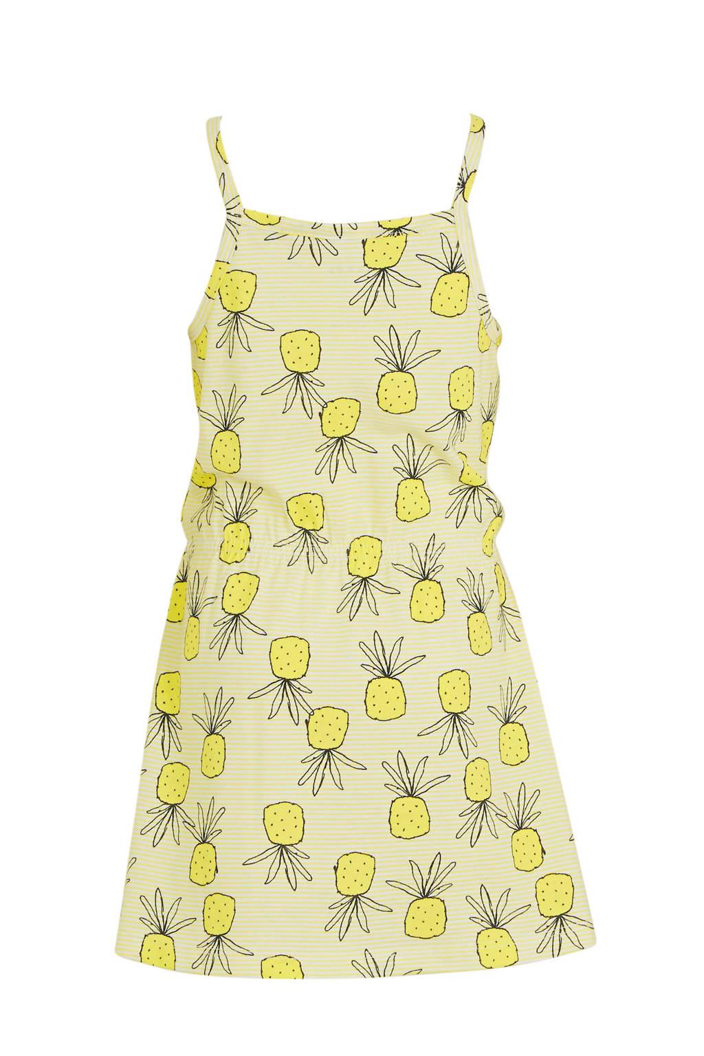 NAME IT MINI jersey jurk Vigga van biologisch katoen geel/zwart/wit, Geel/zwart/wit