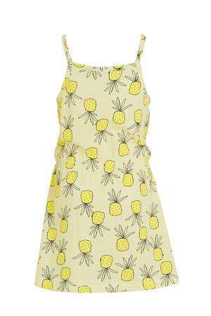 jersey jurk Vigga van biologisch katoen geel/zwart/wit