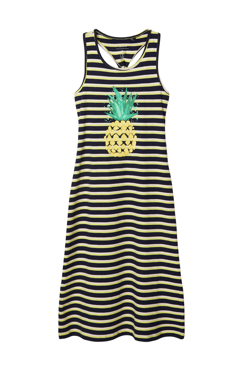 NAME IT KIDS gestreepte maxi jurk Jitra met biologisch katoen geel/zwart/groen, Geel/zwart/groen
