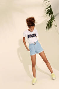 LMTD high waist regular fit jeans short Jobban van biologisch katoen light denim, Light denim