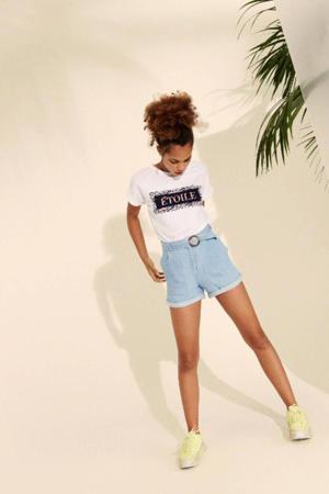 high waist regular fit jeans short Jobban van biologisch katoen light denim
