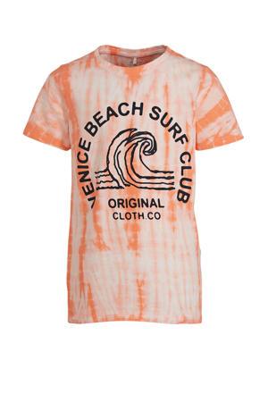 T-shirt Jenke met biologisch katoen oranje/wit