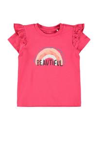 NAME IT BABY baby T-shirt Hilda met biologisch katoen roze/blauw/wit, Roze/blauw/wit
