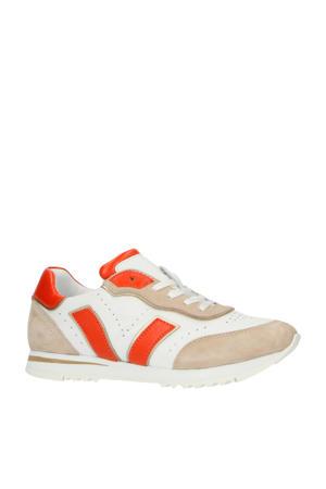 30176  leren sneakers wit/beige/oranje