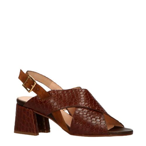 Maripe 30436 leren sandalettes crocoprint bruin