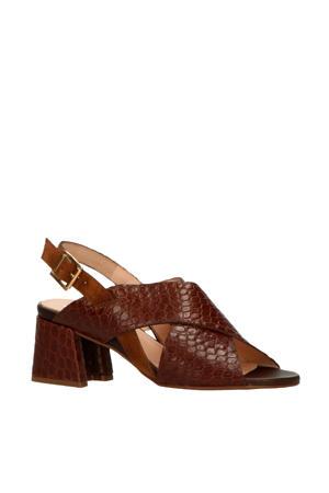 30436  leren sandalettes crocoprint bruin