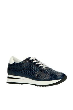 30234  leren sneakers crocoprint donkerblauw