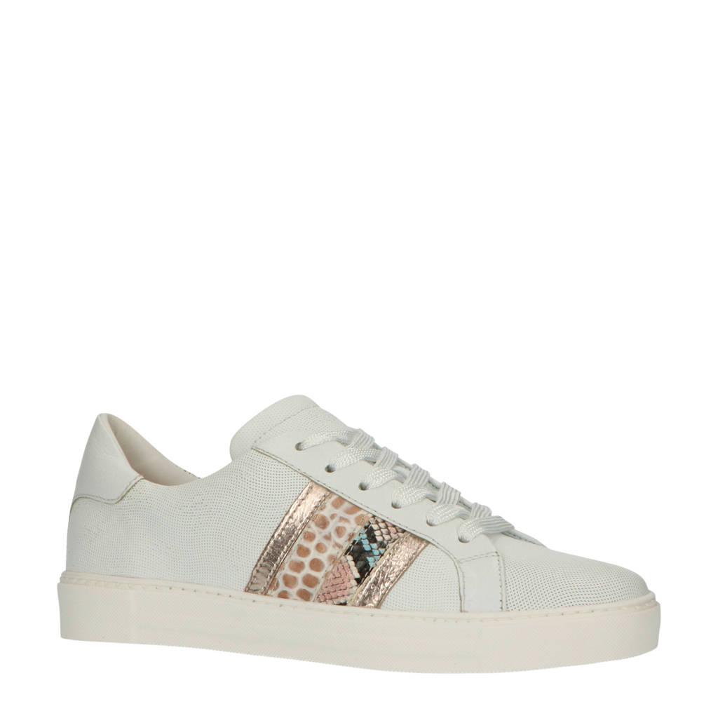 Maripe 30308  leren sneakers wit/multi, wit/zilver/camel