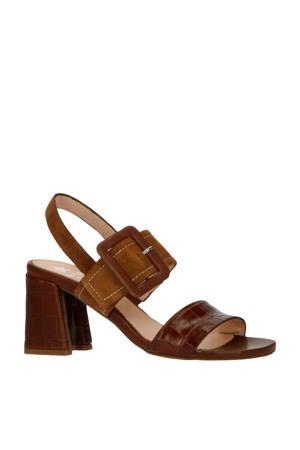 30428  leren sandalettes crocoprint bruin