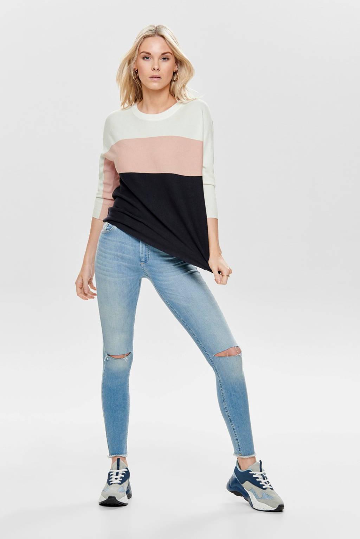 ONLY fijngebreide trui roze/blauw/wit, Roze/blauw/wit
