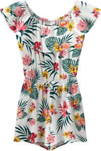 NAME IT KIDS gebloemde jumpsuit Vinaya wit/roze/geel, Wit/roze/geel