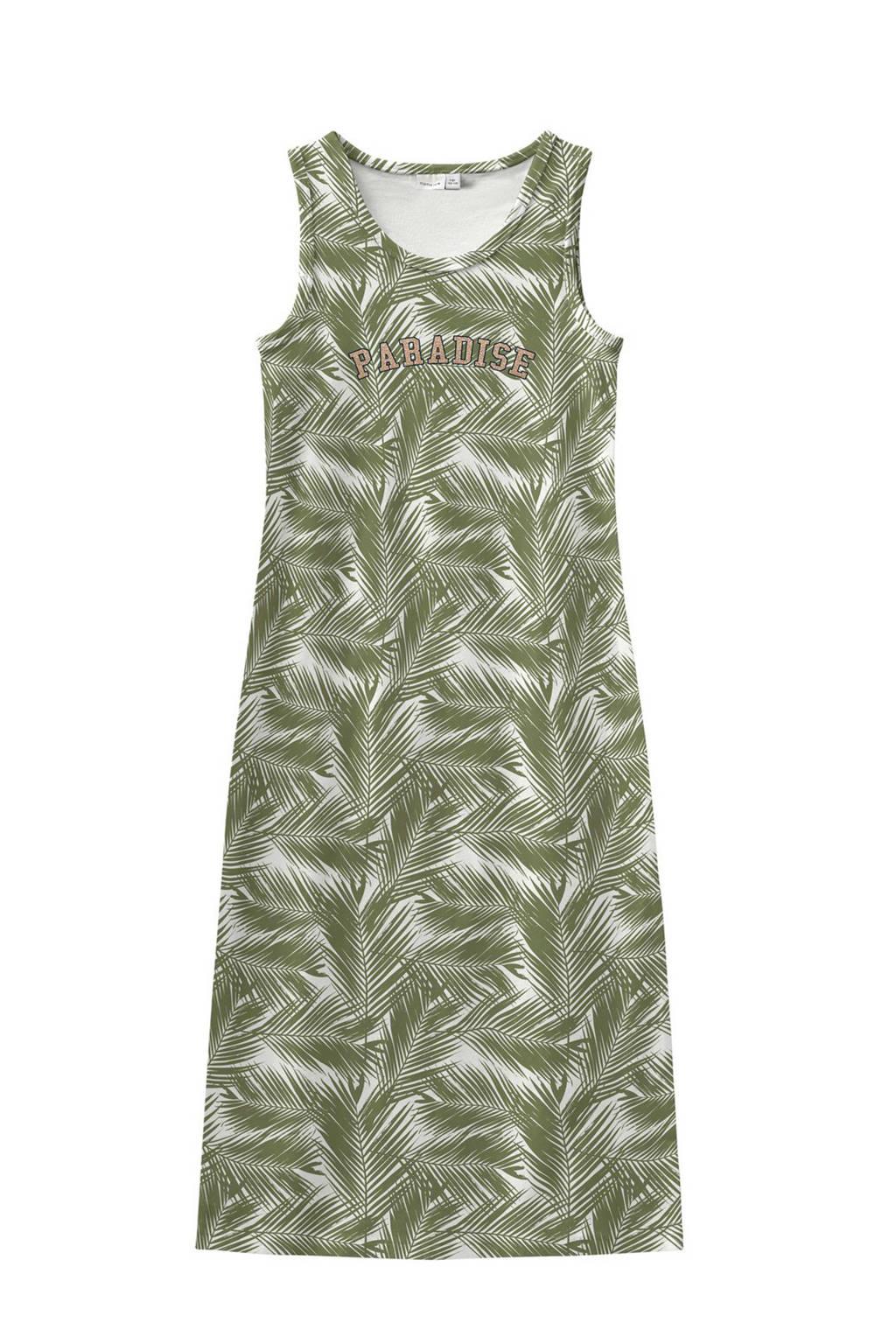 NAME IT KIDS maxi jurk met all over print groen, Groen