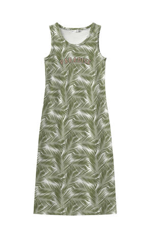 maxi jurk met all over print groen