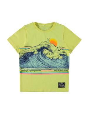 T-shirt Fagiolo van biologisch katoen limegroen/blauw/oranje