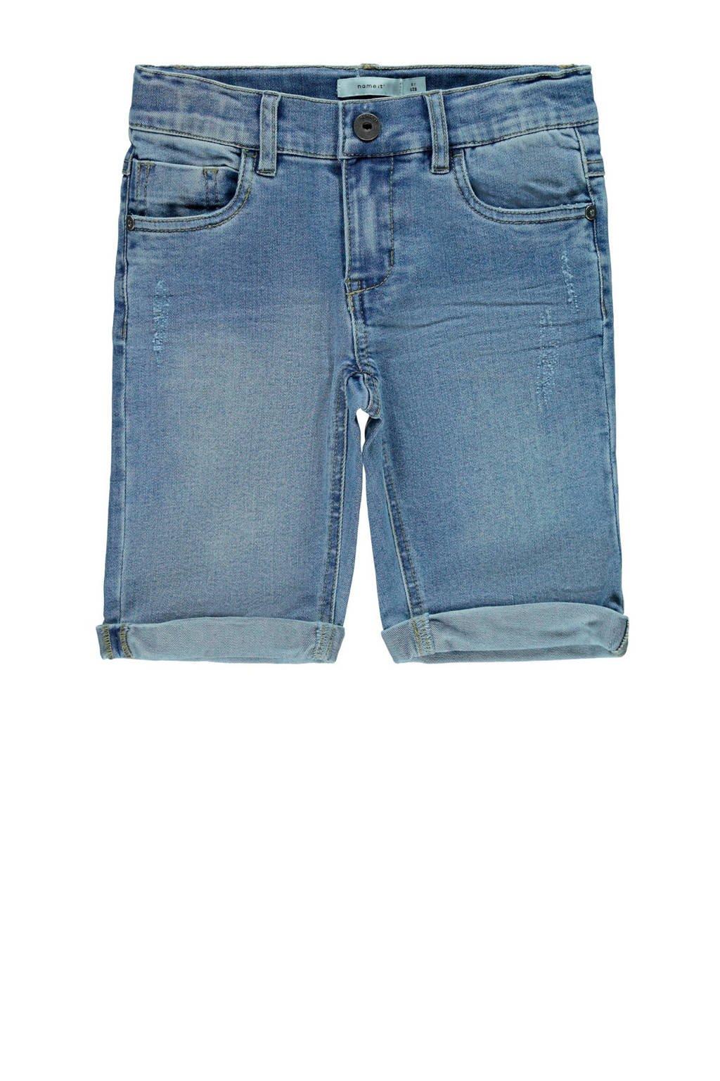 NAME IT KIDS slim fit jeans bermuda Sofus light blue denim, Light blue denim