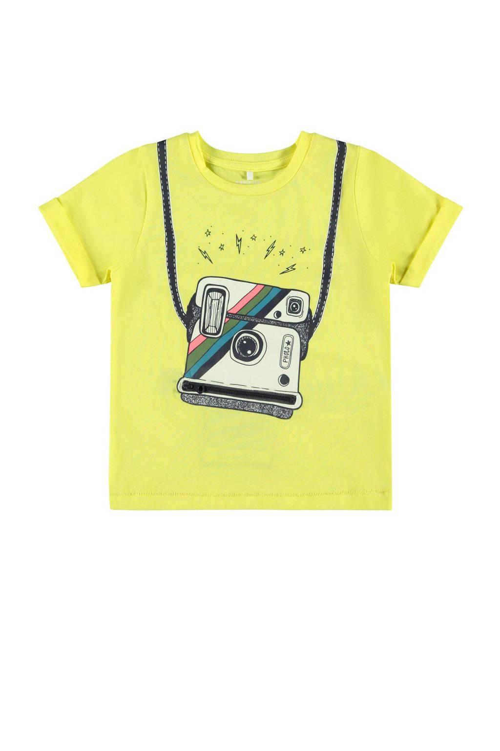 NAME IT MINI T-shirt Fakko met biologisch katoen geel/zwart/wit, Geel/zwart/wit