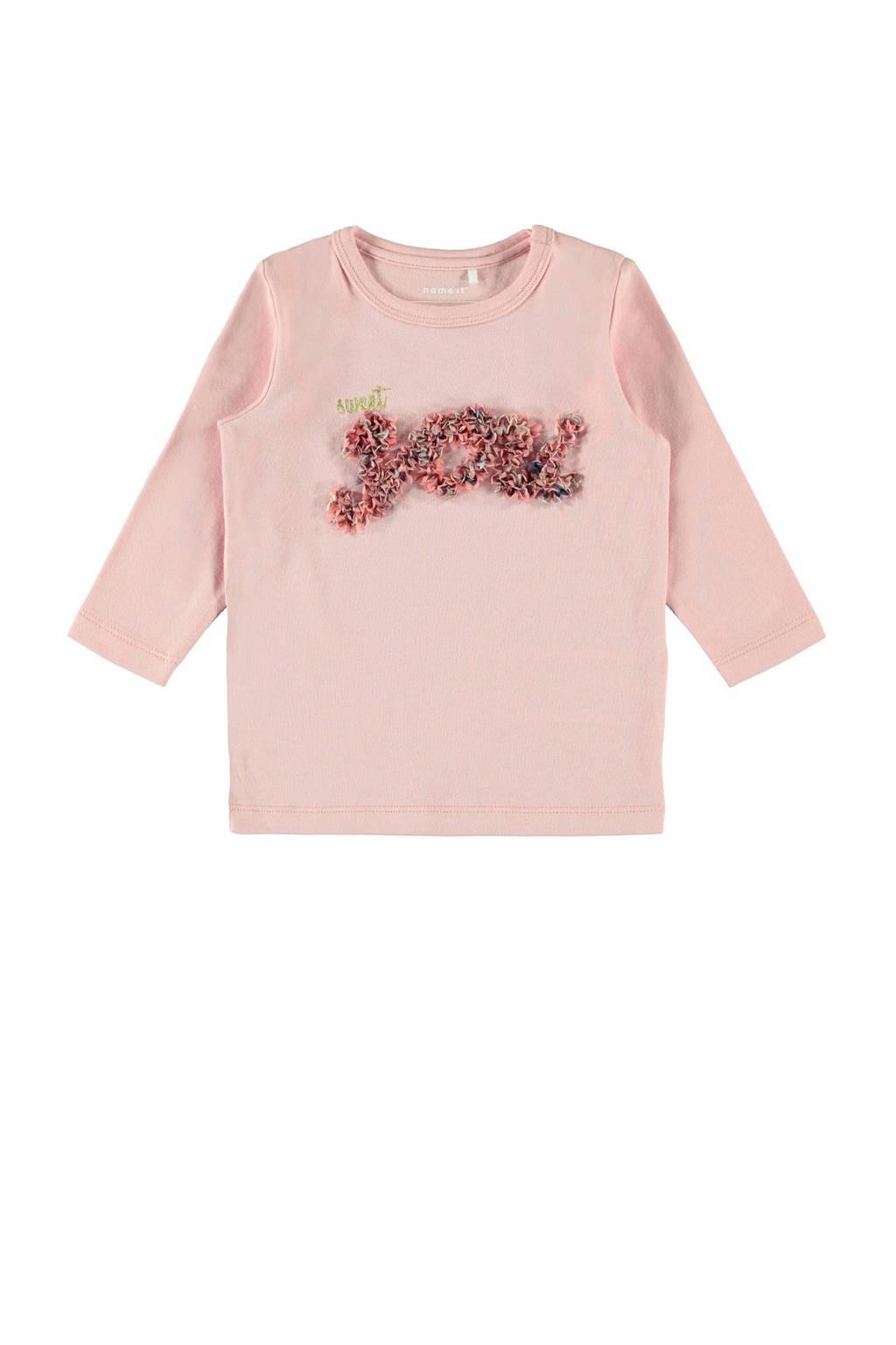 NAME IT BABY baby longsleeve Flavia met biologisch katoen roze, Roze