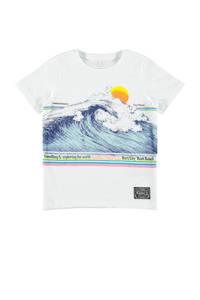 NAME IT KIDS T-shirt Fagiolo van biologisch katoen wit/blauw/roze, Wit/blauw/roze