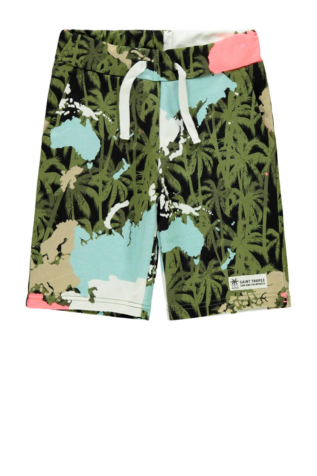 NAME IT KIDS sweatshort Florida met biologisch katoen multi, Groen/Geel/Roze