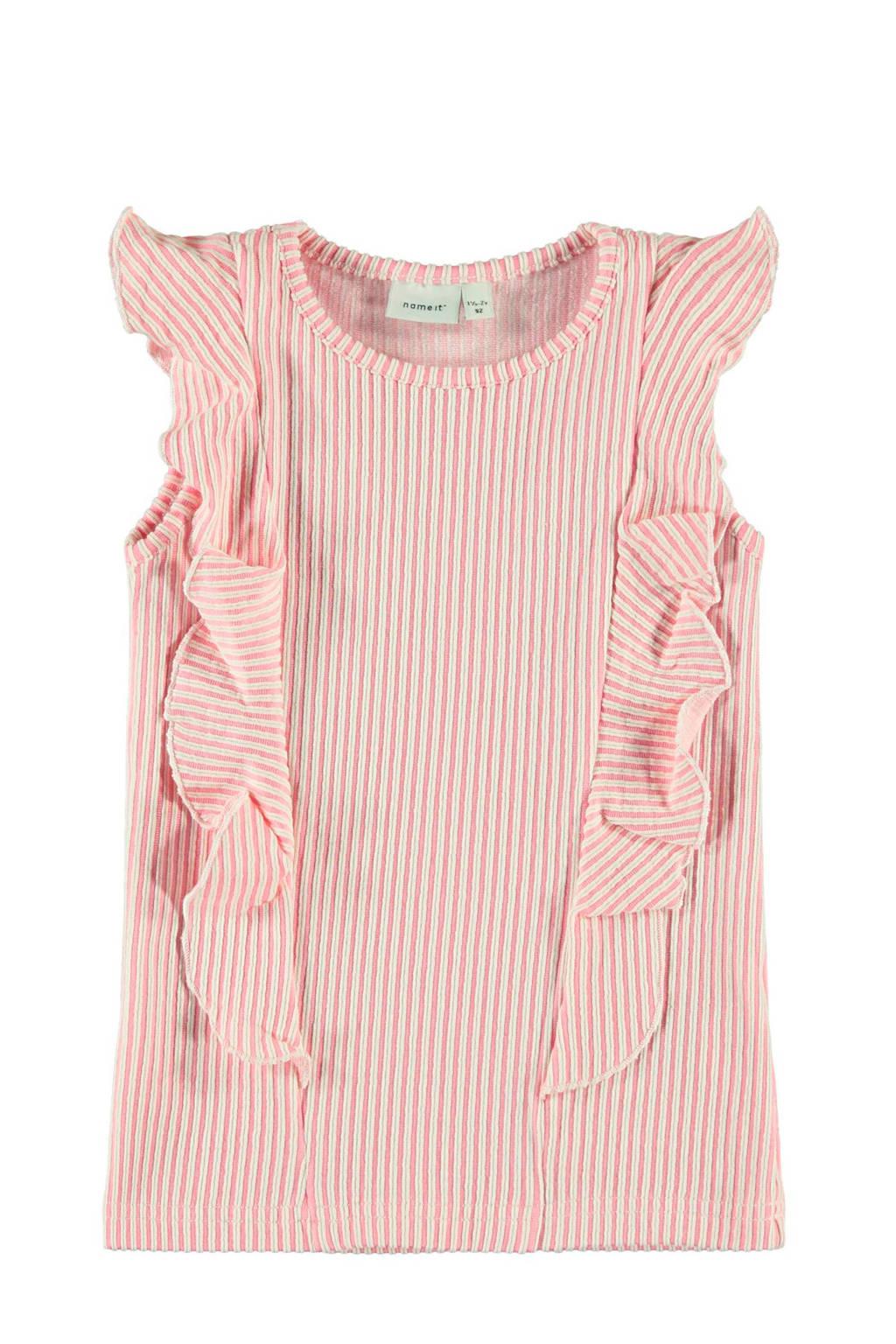 NAME IT MINI gestreepte top Fastripe roze/wit, Roze/wit