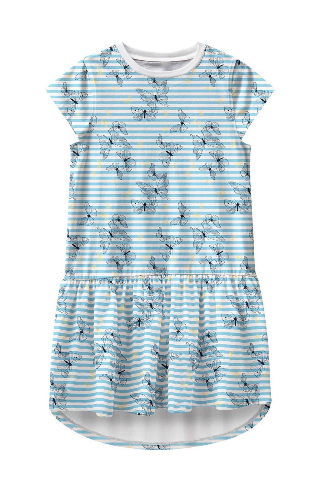 NAME IT MINI jersey jurk Vigga van biologisch katoen lichtblauw, Lichtblauw