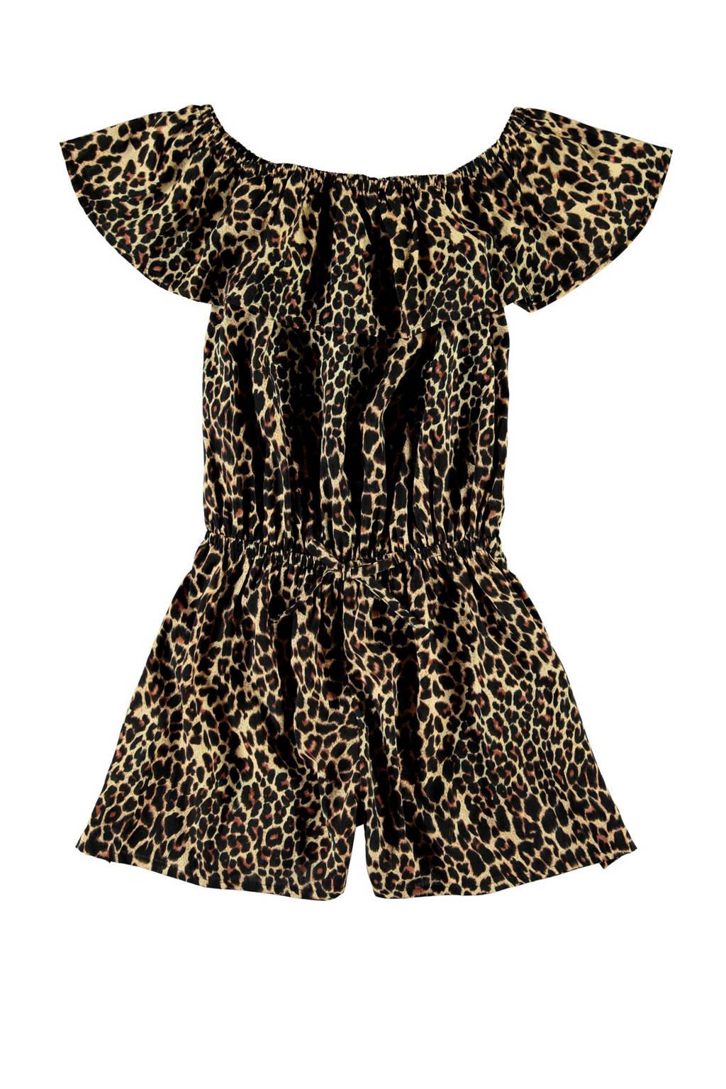 NAME IT KIDS off shoulder jumpsuit Vinaya met panterprint bruin/zwart, Bruin/zwart