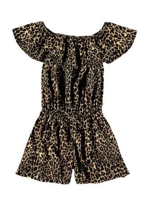 off shoulder jumpsuit Vinaya met panterprint bruin/zwart