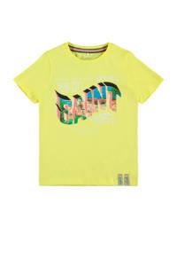 NAME IT KIDS T-shirt FLEX van biologisch katoen, Geel/oudroze/groen