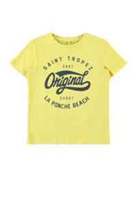 NAME IT KIDS T-shirt Fike met biologisch katoen geel, Geel