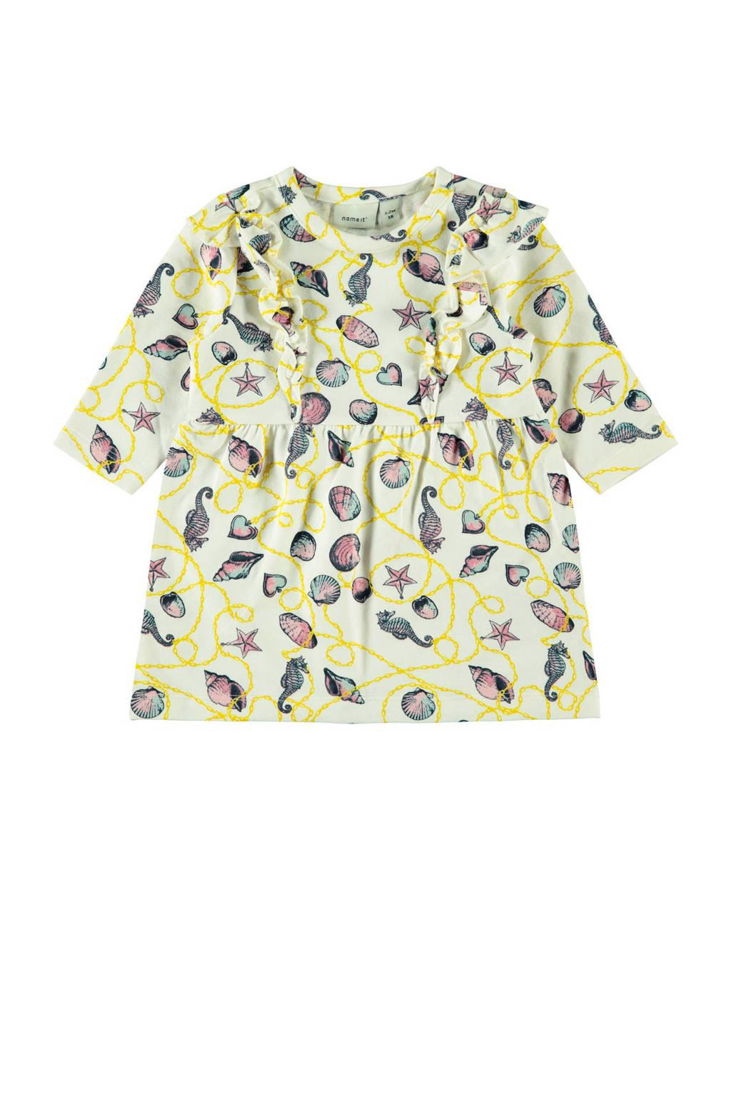NAME IT BABY sweatjurk Felina met all over print en volant ecru/geel, Ecru/geel