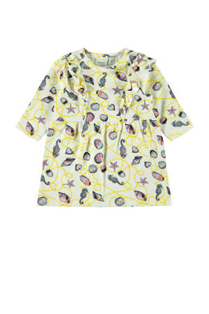 sweatjurk Felina met all over print en volant ecru/geel