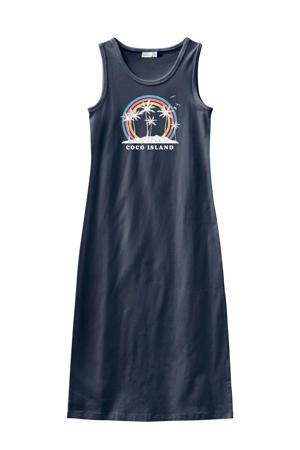 maxi jurk met printopdruk grijsblauw