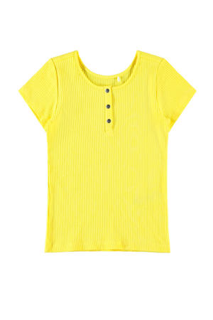T-shirt Flouri met biologisch katoen geel