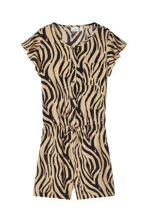jumpsuit Kinaya met zebraprint beige/zwart