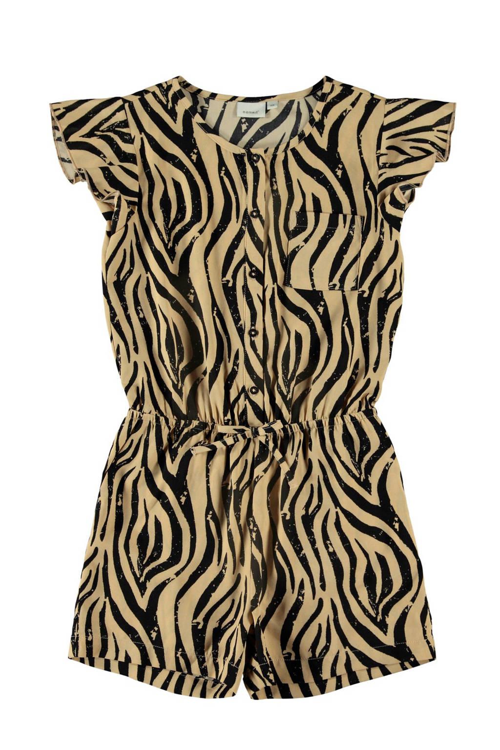 NAME IT KIDS jumpsuit Kinaya met zebraprint beige/zwart, Beige/zwart
