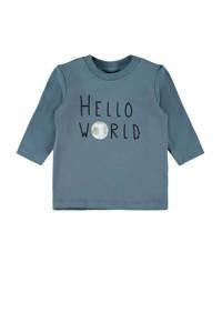 NAME IT BABY baby longsleeve Festa met biologisch katoen grijsblauw, Grijsblauw