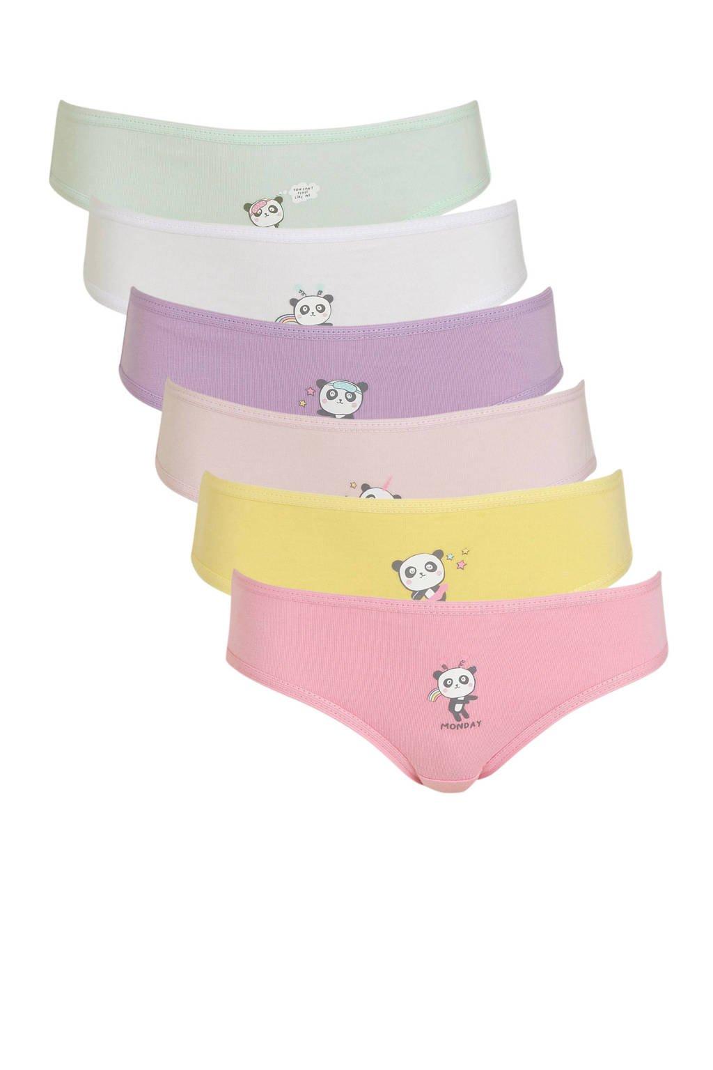 C&A Palomino short met printopdruk - set van 6 roze/paars/groen, Roze/paars/groen