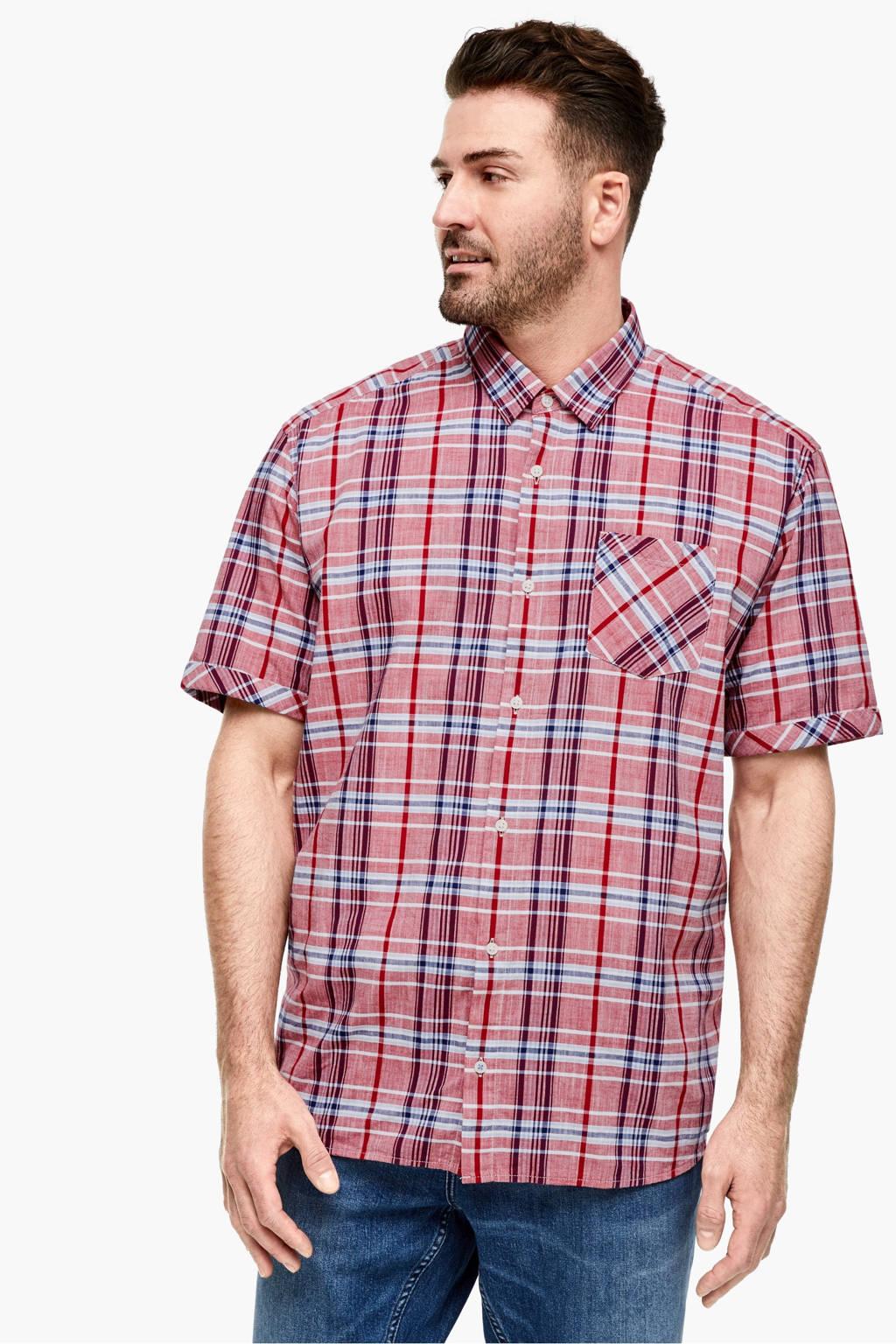 s.Oliver geruit regular fit denim overhemd rood, Rood