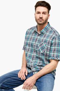 s.Oliver geruit regular fit denim overhemd donkerblauw, Donkerblauw
