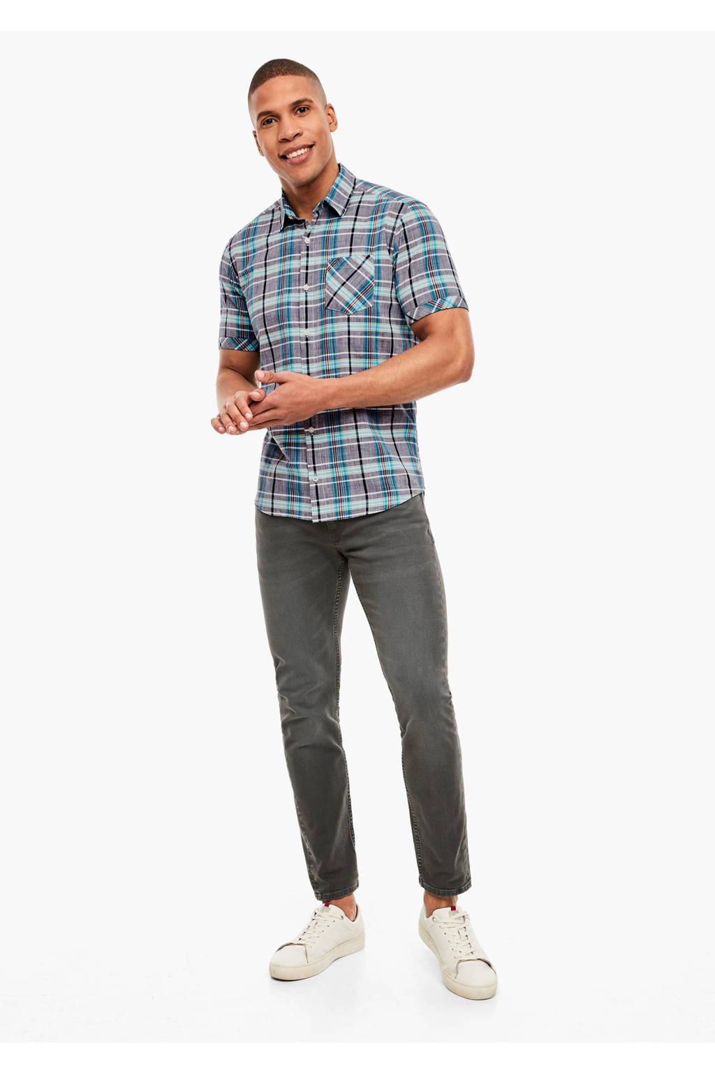 s.Oliver geruit slim fit denim overhemd donkerblauw, Donkerblauw