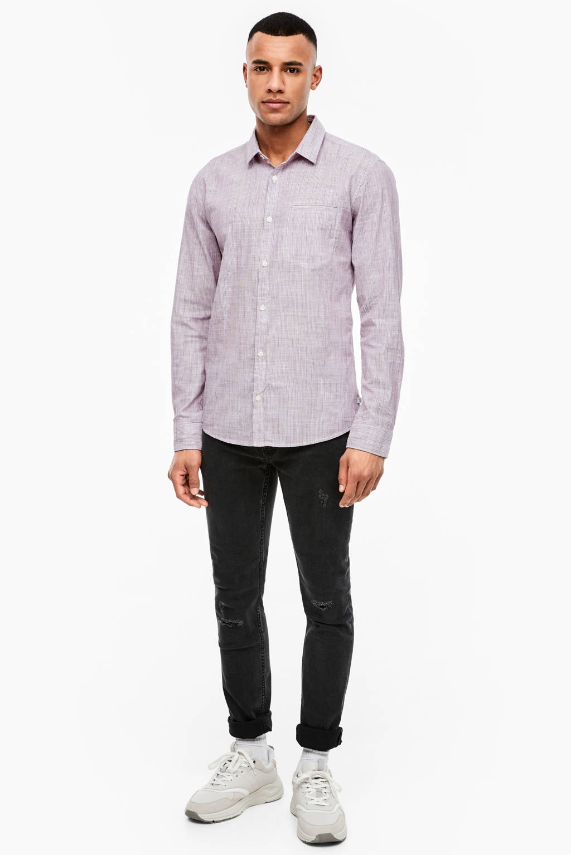 Q/S designed by gemêleerd regular fit overhemd wit, Wit