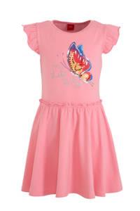 s.Oliver jersey jurk met printopdruk en pailletten roze/zilver/blauw, Roze/zilver/blauw