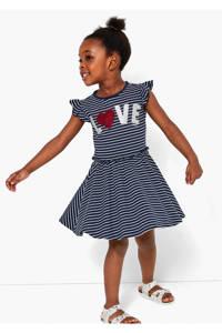 s.Oliver gestreepte jersey jurk donkerblauw/wit/rood, Donkerblauw/wit/rood