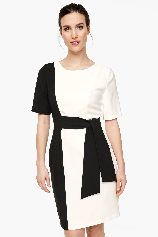 s.Oliver BLACK LABEL jurk wit/zwart, Wit