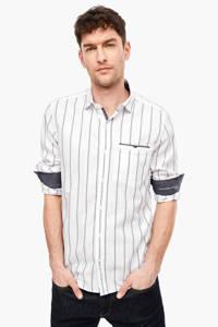 s.Oliver gestreept slim fit overhemd met linnen wit, Wit
