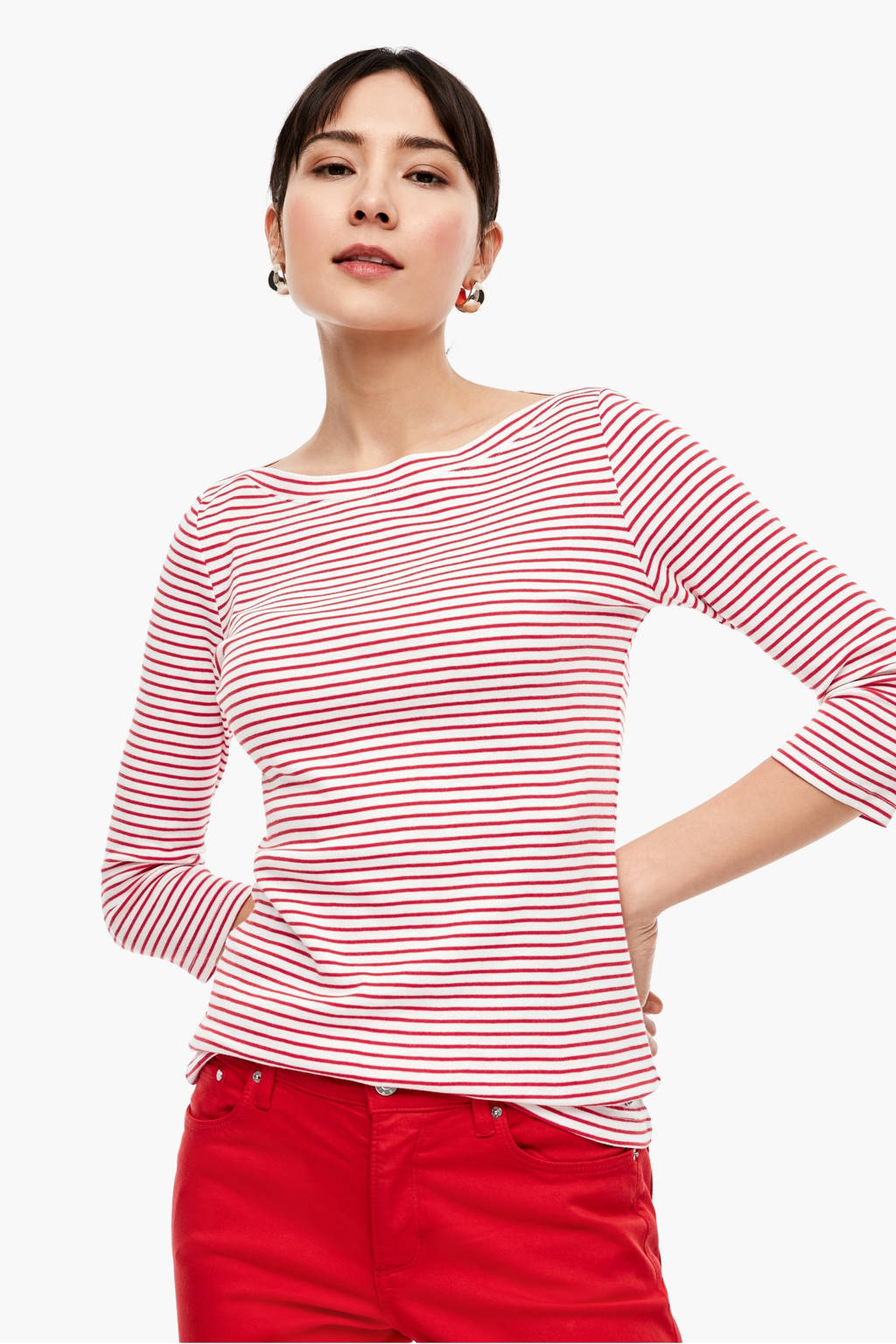 s.Oliver gestreept T-shirt rood/wit, Rood/wit