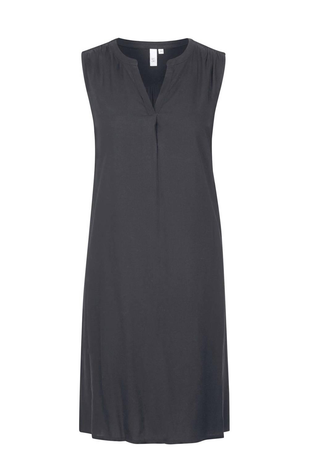 Q/S designed by jersey jurk met plooien antraciet, Antraciet