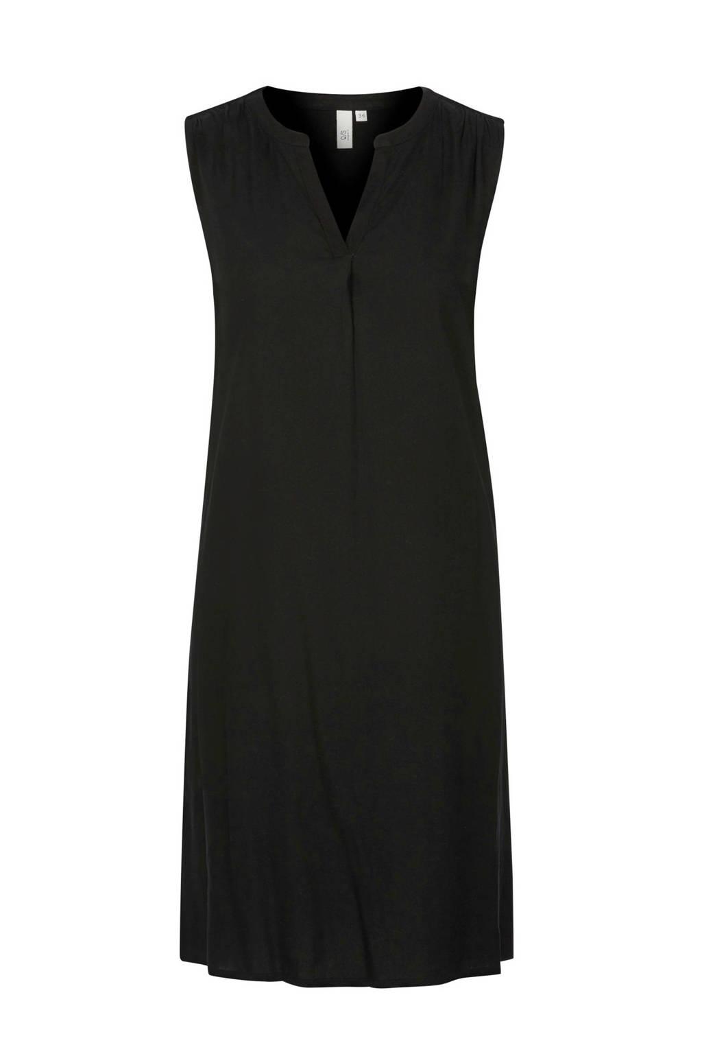 Q/S designed by jersey jurk met plooien zwart, Zwart