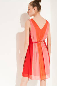 comma semi-transparante A-lijn jurk met plooien oranje, Oranje