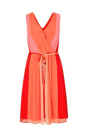 semi-transparante A-lijn jurk met plooien oranje